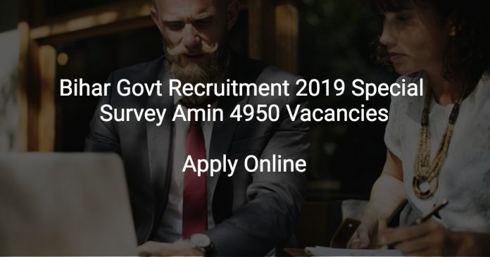 Bihar Govt Recruitment 2019 Special Survey Amin 4950 Vacancies