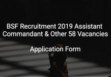 BSF Recruitment 2019 Assistant Commandant & Other 58 Vacancies