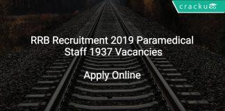 RRB Recruitment 2019 Paramedical Staff 1937 Vacancies