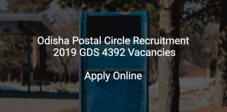 Odisha Postal Circle Recruitment 2019 GDS 4392 Vacancies