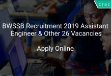 BWSSB Recruitment 2019 Assistant Engineer & Other 26 Vacancies