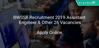 BWSSB Recruitment 2019 Assistant Engineer & Other 26 Vacancies