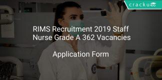 RIMS Recruitment 2019 Staff Nurse Grade A 362 Vacancies