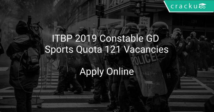 ITBP 2019 Constable GD, Sports Quota 121 Vacancies