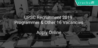 UPSC Recruitment 2019 Programmer & Other 16 Vacancies