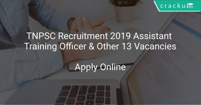 TNPSC Recruitment 2019 Assistant Training Officer & Other 13 Vacancies