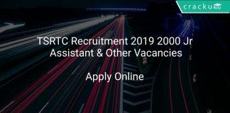 TSRTC Recruitment 2019 2000 Jr Assistant & Other Vacancies