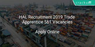 HAL Recruitment 2019 Trade Apprentice 561 Vacancies