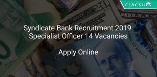 Syndicate Bank Recruitment 2019 Specialist Officer 14 Vacancies
