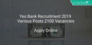 Yes Bank Recruitment 2019 Various Posts 2100 Vacancies