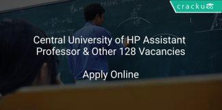 Central University of HP Assistant Professor & Other 128 Vacancies