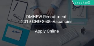 DMHFW Recruitment 2019 CHO 2500 Vacancies