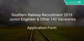 Southern Railway Recruitment 2019 Junior Engineer & Other 142 Vacancies