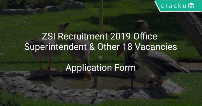 ZSI Recruitment 2019 Office Superintendent & Other 18 Vacancies