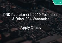 PRD Recruitment 2019 Technical & Other 234 Vacancies