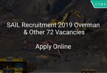 SAIL Recruitment 2019 Overman & Other 72 Vacancies