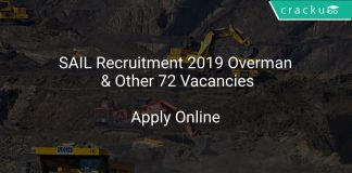 SAIL Recruitment 2019 Overman & Other 72 Vacancies