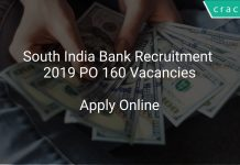South India Bank Recruitment 2019 PO 160 Vacancies