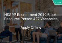HSSPP Recruitment 2019 Block Resource Person 427 Vacancies