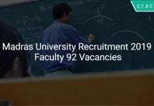 Madras University Recruitment 2019 Faculty 92 Vacancies