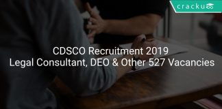 CDSCO Recruitment 2019 Legal Consultant, DEO & Other 527 Vacancies