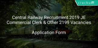 Central Railway Recruitment 2019 JE,Commercial Clerk & Other 2199 Vacancies