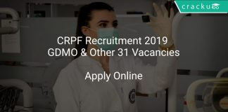 CRPF Recruitment 2019 GDMO & Other 31 Vacancies