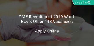DME Recruitment 2019 Ward Boy & Other 148 Vacancies