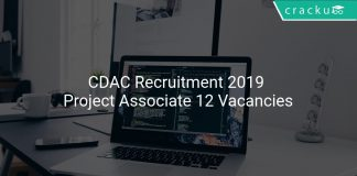 CDAC Recruitment 2019 Project Associate 12 Vacancies