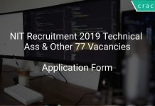 NIT Recruitment 2019 Technical Assistant & Other 77 Vacancies