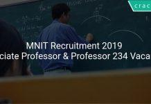 MNIT Recruitment 2019 Associate Professor & Professor 234 Vacancies