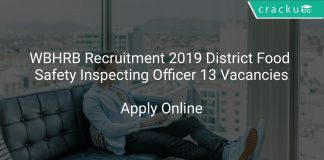 WBHRB Recruitment 2019 District Food Safety Inspecting Officer 13 Vacancies