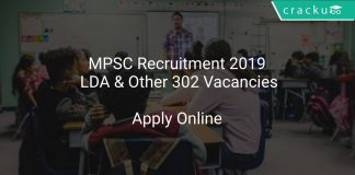 MPSC Recruitment 2019 LDA & Other 302 Vacancies