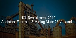 HCL Recruitment 2019 Assistant Foreman & Mining Mate 26 Vacancies