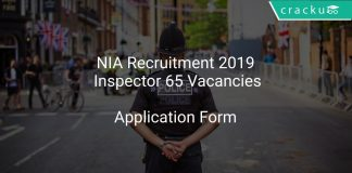 NIA Recruitment 2019 Inspector 65 Vacancies