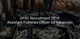 OPSC Recruitment 2019 Assistant Fisheries Officer 65 Vacancies