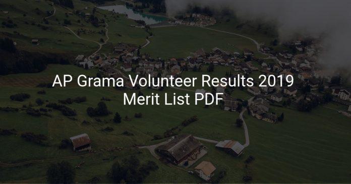 AP Grama Volunteer Results 2019 Released Merit List PDF Download