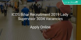 ICDS Bihar Recruitment 2019 Lady Supervisor 3034 Vacancies