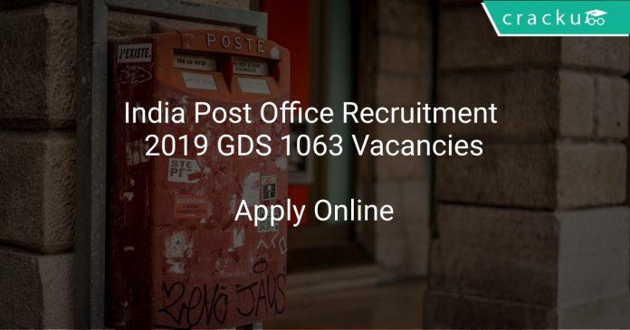 India Post Office Recruitment 2019 GDS 1063 Vacancies