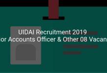UIDAI Recruitment 2019 Senior Accounts Officer & Other 08 Vacancies