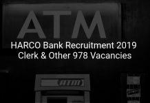 HARCO Bank Recruitment 2019 Clerk & Other 978 Vacancies