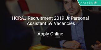 HCRAJ Recruitment 2019 Jr Personal Assistant 69 Vacancies