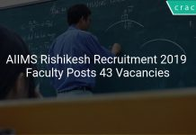 AIIMS Rishikesh Recruitment 2019 Faculty Posts 43 Vacancies