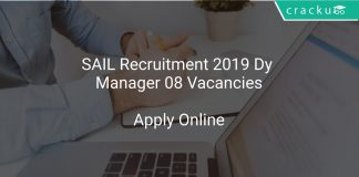 SAIL Recruitment 2019 Dy Manager 08 Vacancies