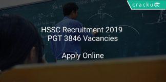 HSSC Recruitment 2019 PGT 3846 Vacancies