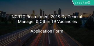 NCRTC Recruitment 2019 Dy General Manager & Other 19 Vacancies