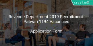Revenue Department 2019 Recruitment Patwari 1194 Vacancies