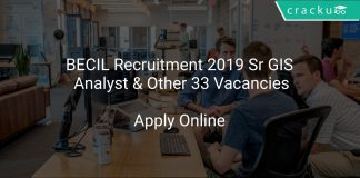 BECIL Recruitment 2019 Sr GIS Analyst & Other 33 Vacanccies