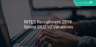 RITES Recruitment 2019 Senior DEO 10 Vacancies