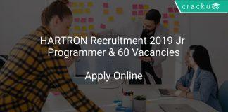 HARTRON Recruitment 2019 Jr Programmer & 60 Vacancies